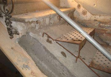 Unión escalera existente con nueva losa